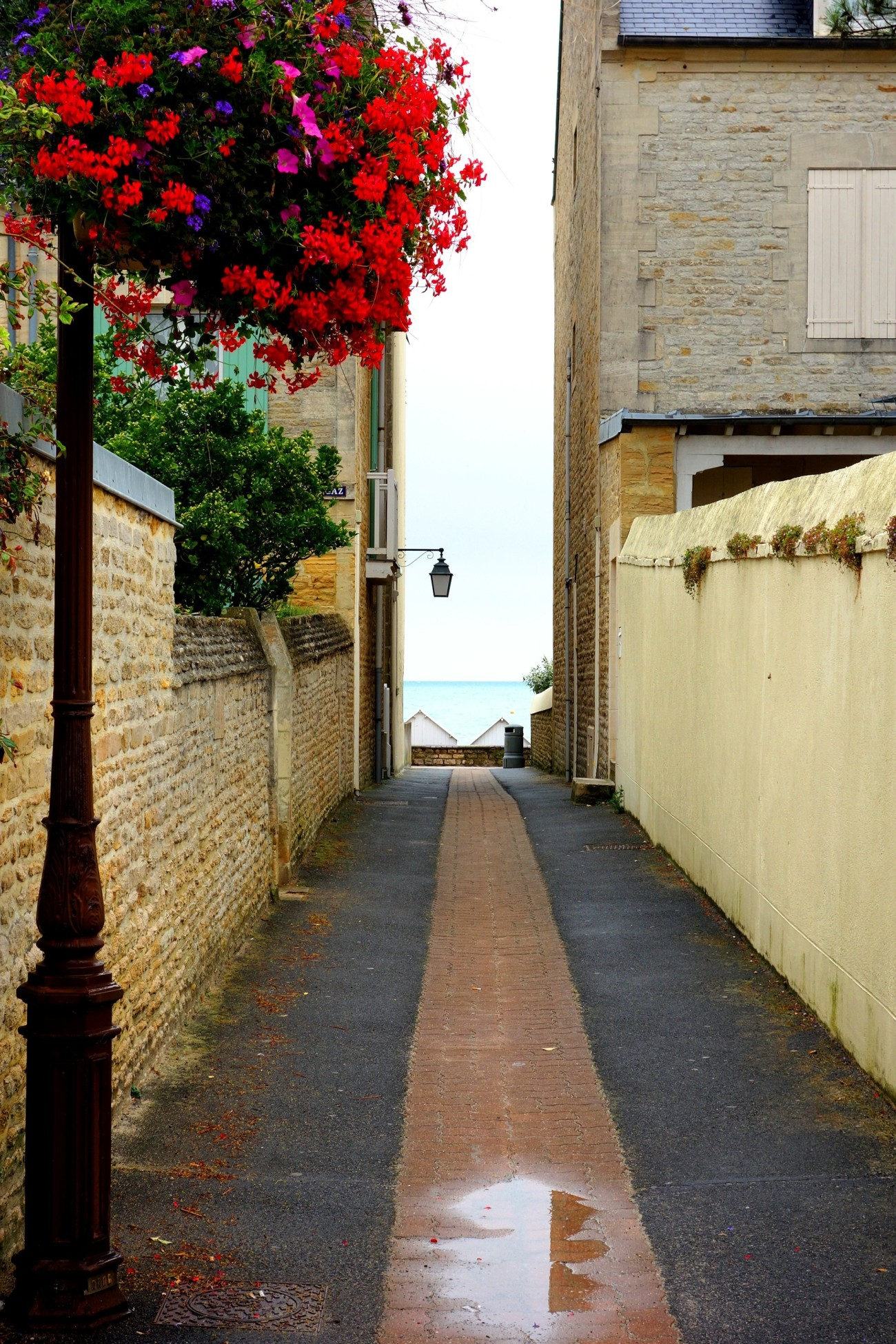 Street to the Juno beach, St Aubin sur Mer, Normandy